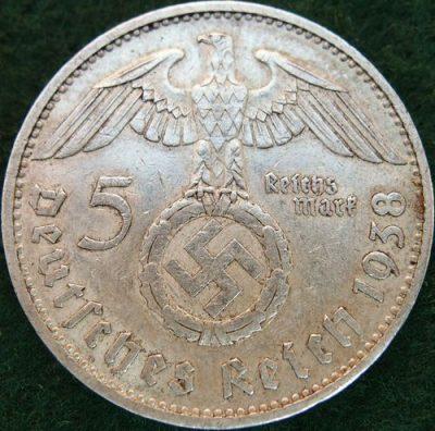 VINTAGE WW2 SILVER NAZI GERMANY 5 REICHSMARK COIN RARE