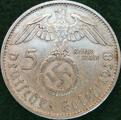VINTAGE WW2 SILVER NAZI GERMANY 5 REICHSMARK COIN RARE