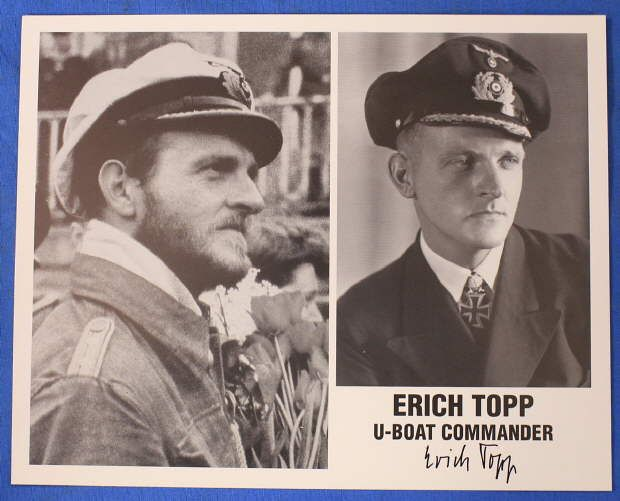 AUTOGRAPHED PHOTO OF KNIGHT`S CROSS RECIPIENT/U-BOAT COMMANDER ERICH TOPP