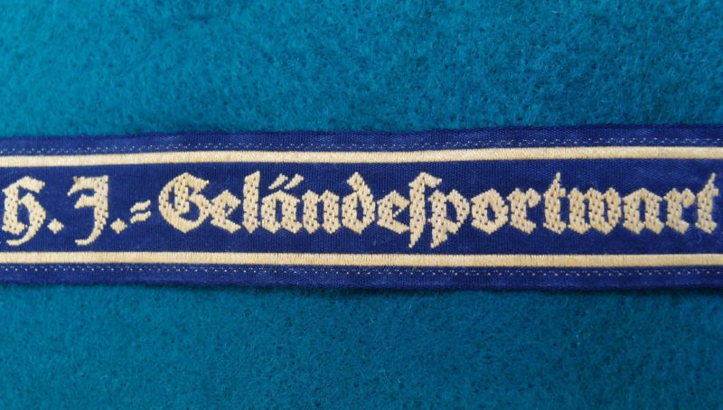 HITLER YOUTH `H.J.=GELANDESPORTWART` FIELD EXERCISE WARDEN CUFF TITLE