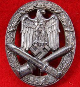 WW2 GERMAN NAZI GENERAL ASSAULT BADGE IN SILVER