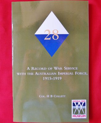 BOOK WW1 28TH BATTALION WESTERN AUSTRALIAN INFANTRY BN ANZAC UNIT HISTORY