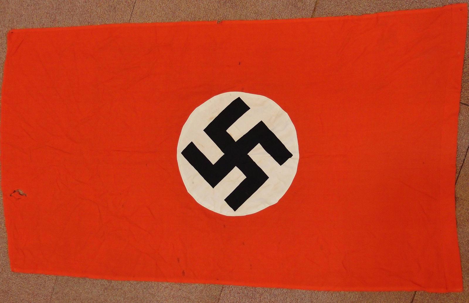 Rare Ww2 German Nazi Party Cotton Flag Jb Military Antiques