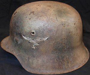 WW2 GERMAN AIR FORCE M42 NORMANDY PATTERN CAMOUFLAGE STEEL HELMET