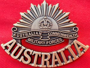 ANZAC WW1 & WW2 RISING SUN COMMEMORATIVE UNIFORM BADGE