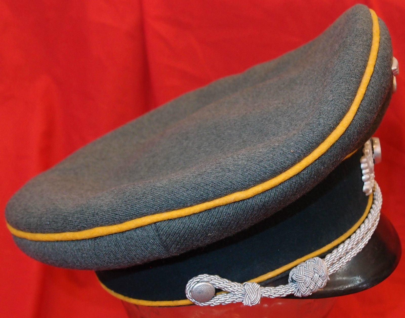WW2 NAZI GERMANY ARMY CAVALRY OFFICER PEAKED CAP HAT