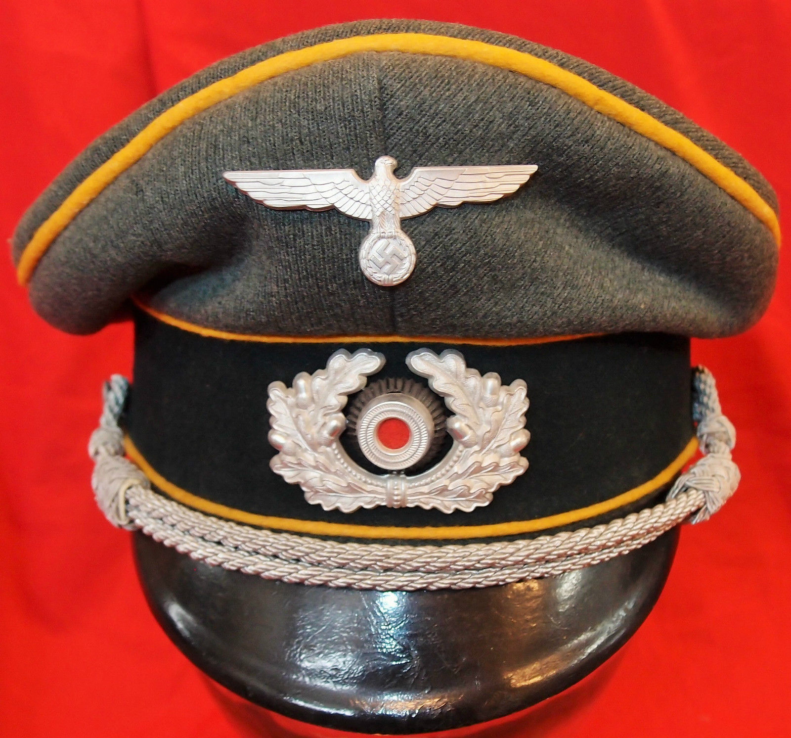 bedf338e05f WW2 NAZI GERMANY ARMY CAVALRY OFFICER PEAKED CAP HAT – JB Military Antiques