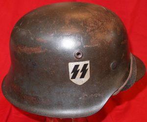 WW2 GERMAN SS M42 SINGLE DECAL COMBAT HELMET NS68