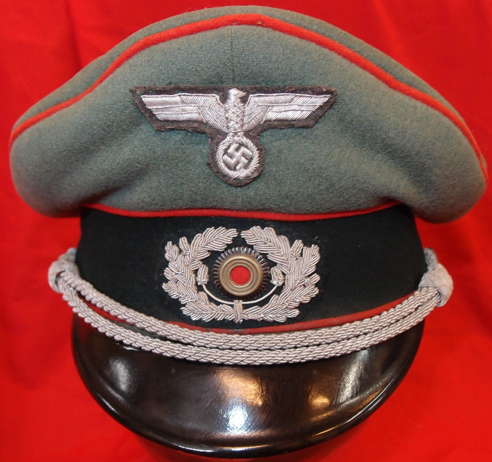 WW2 NAZI GERMANY ARMY ARTILLERY OFFICER PEAKED CAP HAT