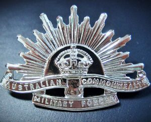 AUSTRALIAN ANZAC WW1 & WW2 NURSES SILVER RISING SUN UNIFORM HAT CAP BADGE
