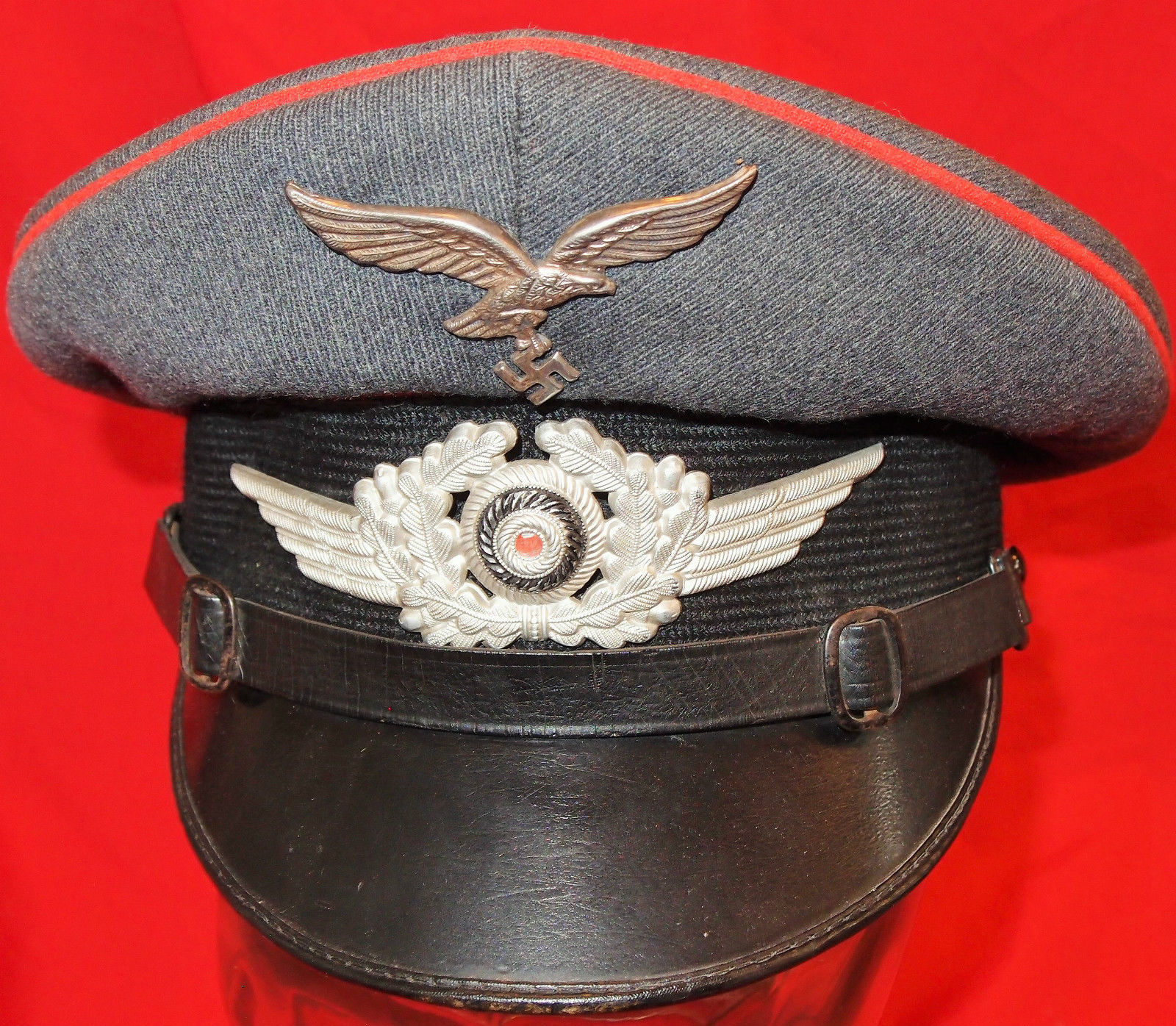 WW2 GERMAN AIR FORCE LUFTWAFFE ARTILLERY NCO S PEAKED CAP – JB ... 6392a3c2a1bc