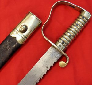 **SOLD** 1856 BRITISH ARMY PIONEER'S SAWBACK SWORD BAYONET & SCABBARD MATCHING NUMBERED