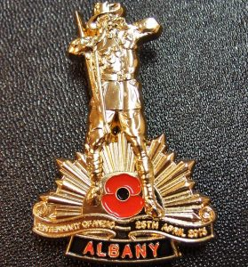 ANZAC DAY WW1 100TH ANNIVERSARY ALBANY *LIMITED EDITION* BADGE MEDAL – NUMBERED