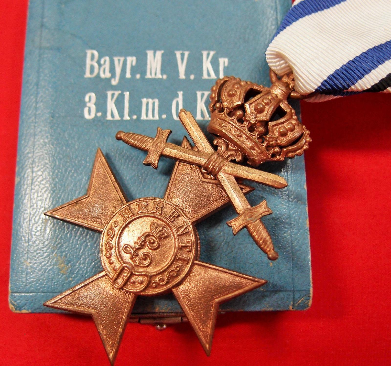 WW1 BAVARIAN GERMANY WAR MERIT CROSS 3RD CLASS COMBATANT IN CASE