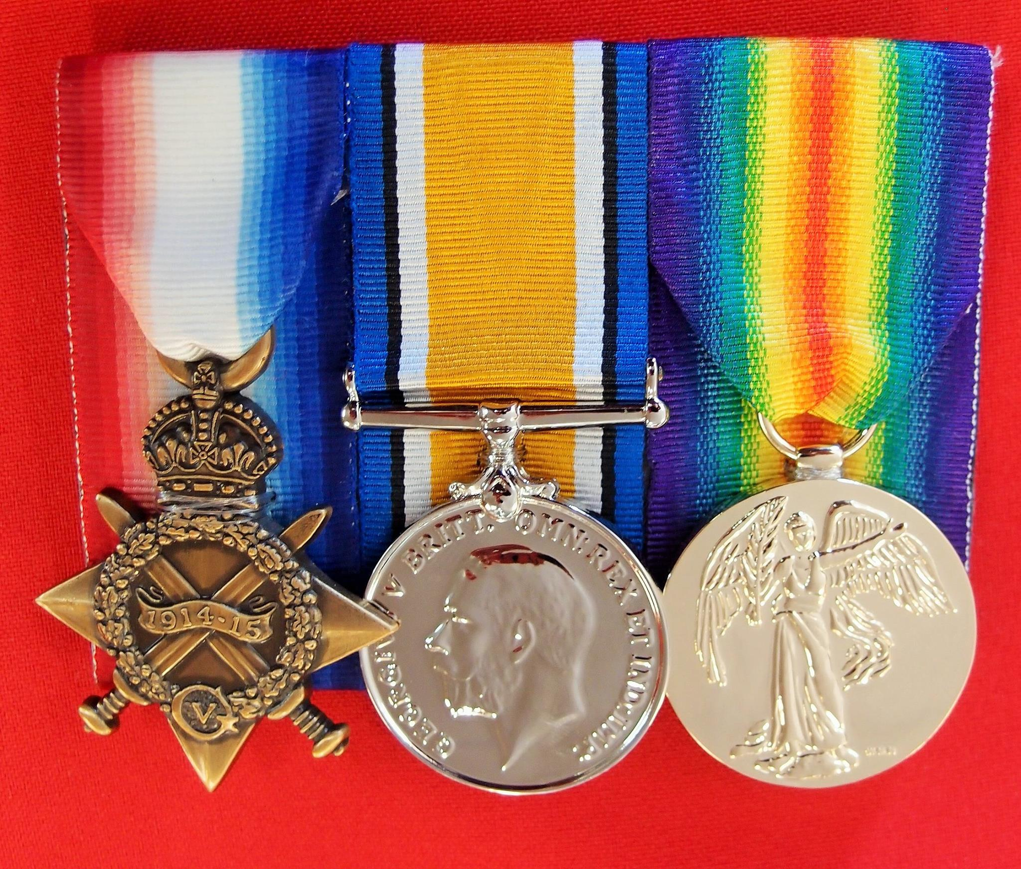REPLICA WW1 MEDAL 1915 TRIO FOR AUSTRALIA UK CANADA NZ COMMONWEALTH MOUNTED