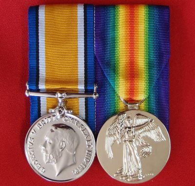 replica ww1 medal pair for australia uk canada nz