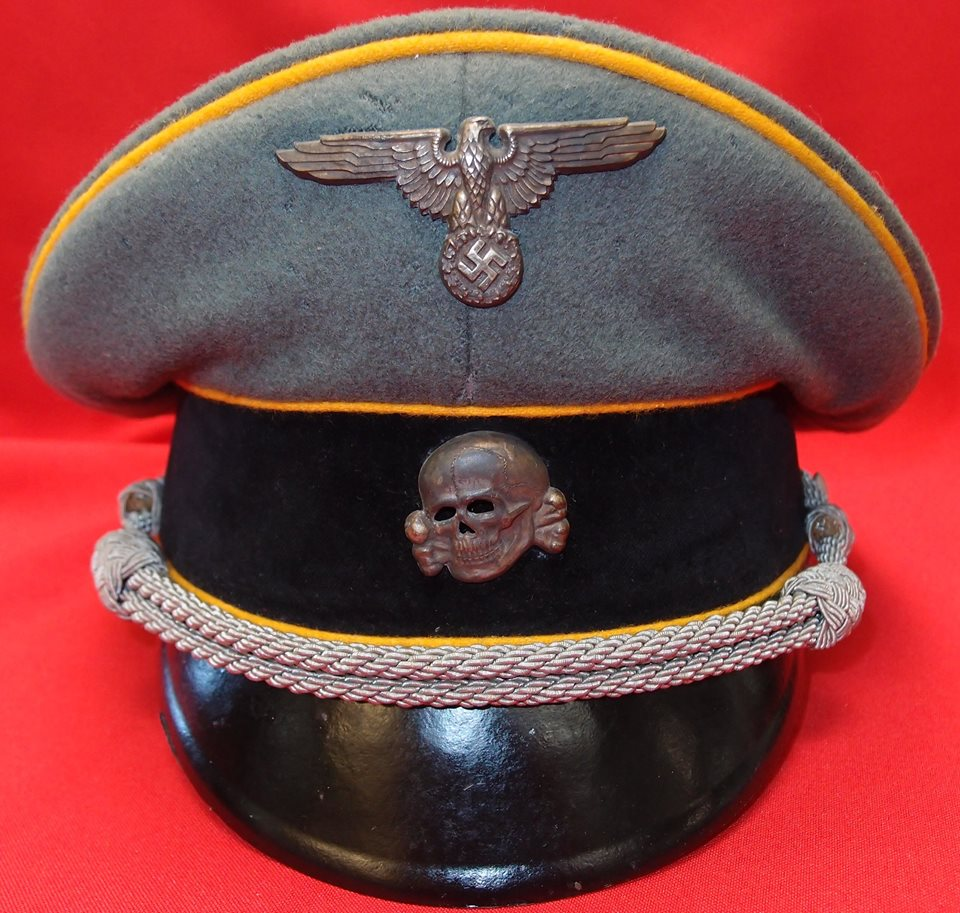 WW2 GERMAN THIRD REICH WAFFEN SS CAVALRY OFFICER'S UNIFORM PEAKED CAP