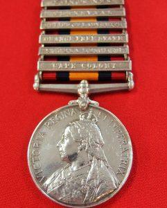 **SOLD** BRITISH  QUEEN'S SOUTH AFRICA BOER WAR SERVICE MEDAL TO W HODSON YORK & LANCASTER REG