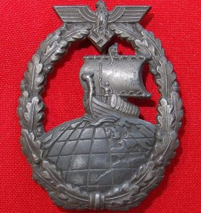 WW2 GERMAN NAVY KRIEGSMARINE AUXILIARY CRUISER WAR BADGE BY FRIEDRICH ORTH