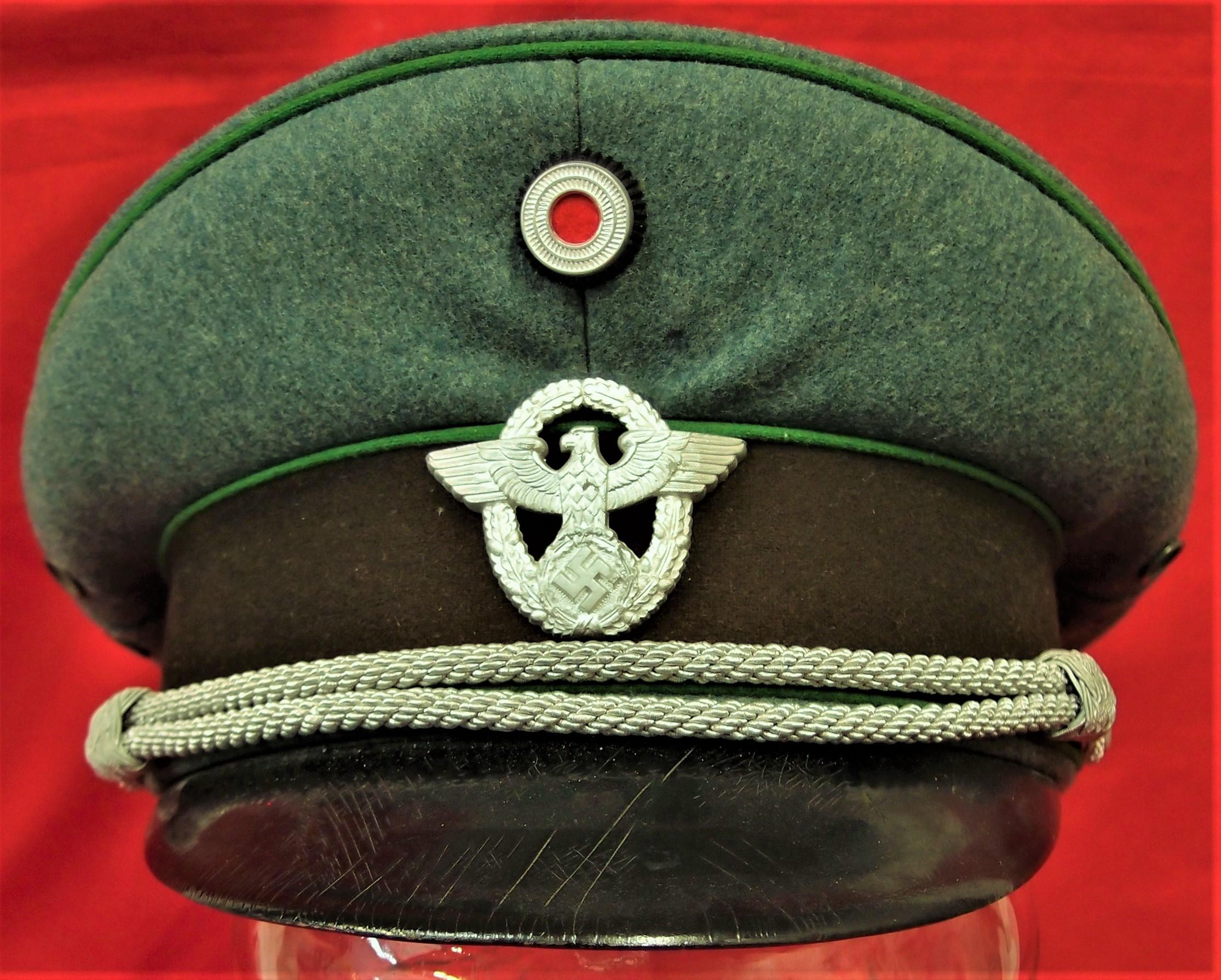 Ww2 German Police M43 Hat Badge: WW2 GERMAN POLICE OFFICER'S JACKET, PANTS & PEAKED CAP