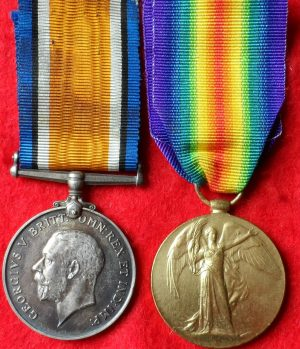 VINTAGE WW1 BRITISH ARMY MEDAL PAIR NAMED ORIGINALS