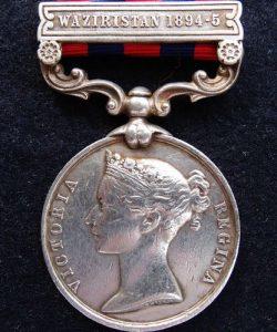 WASIRISTAN-PRE WW1 BRITISH ARMY MILITARY MEDAL INDIA GENERAL SERVICE QUEEN VICTORIA ERA