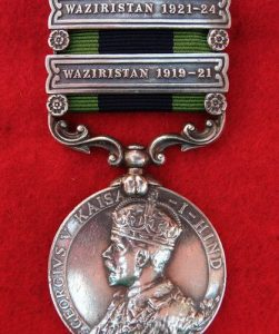 WAZIRISTAN-BRITISH KING GEORGE V STERLING SILVER INDIA GENERAL SERVICE MEDAL 2 BAR WW1-WW2
