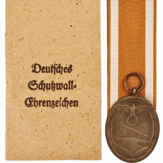 WW2 GERMAN WEST WALL MEDAL IN AWARD ENVELOPE WITH RIBBON