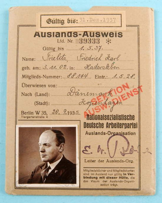 RARE NAZI PARTY FOREIGN AFFAIRS IDENTIFICATION COVER