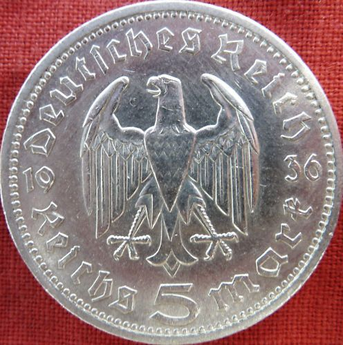 VINTAGE WW2 SILVER NAZI GERMANY 5 REICHSMARK COIN