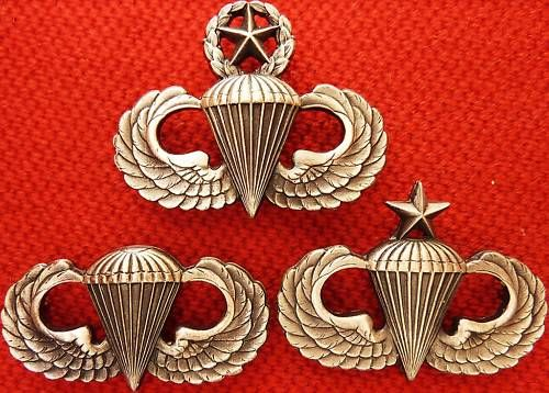 US ARMY AIR FORCE SET OF PARACHUTE QUALIFICATION WINGS