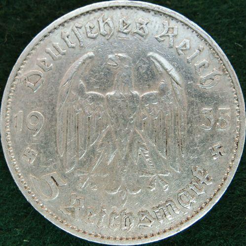 POTSDAM CHURCH SILVER NAZI GERMANY 5 REICHSMARK COIN RARE