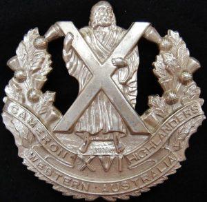 WW2 AUSTRALIAN ARMY 16TH BN CAMERON HIGHLANDERS CAP BADGE 1930-1942 PATTERN