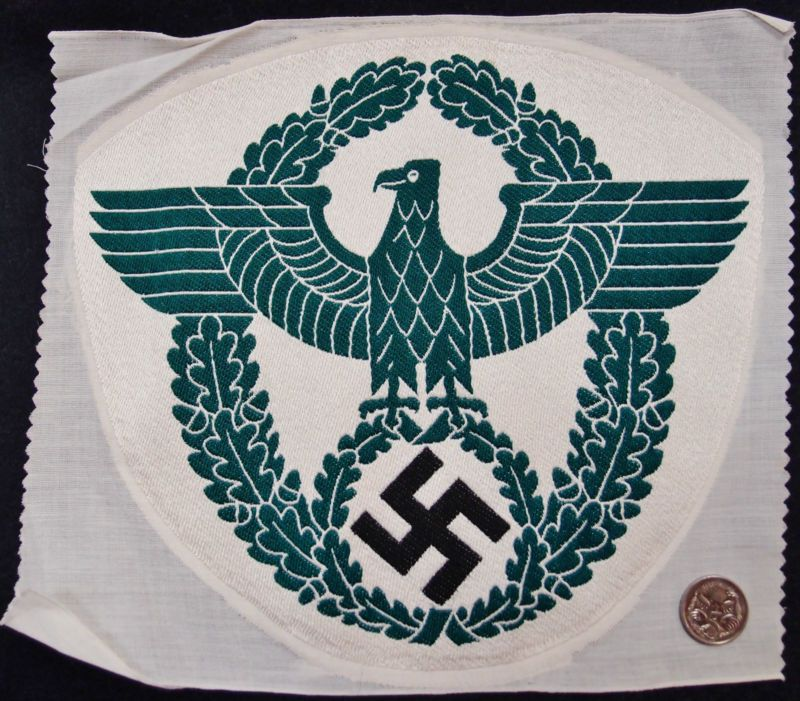 NAZI GERMANY WW2 POLICE SPORTS EAGLE – BEVO WEAVE ORIGINAL