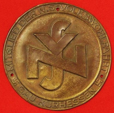 German Nazi party administration division brass plate