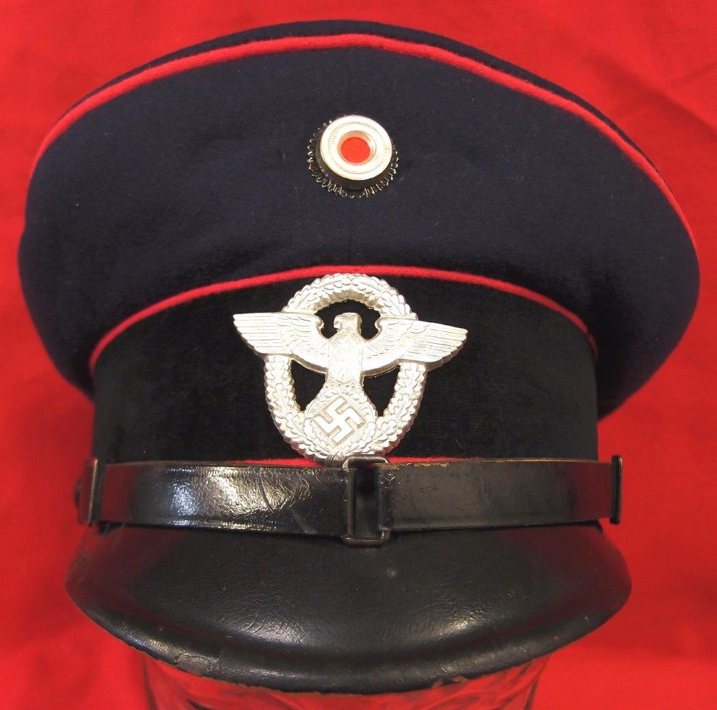 WW2 GERMAN FIRE PROTECTION POLICE, NCO PEAKED CAP