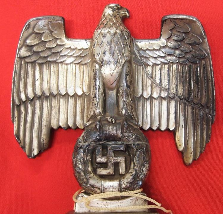 **SOLD** Nazi Naval boxing trophy with silver plated eagle and swastika on  marble plinth
