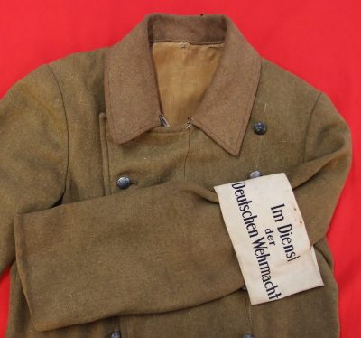 WW2 ERA NAZI GERMAN SA GREATCOAT WITH HOME GUARD ARMBAND