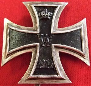 RARE .800 SILVER WW1 IRON CROSS 1st CLASS FOR BRAVERY COMBATTANT MEDAL BADGE 1