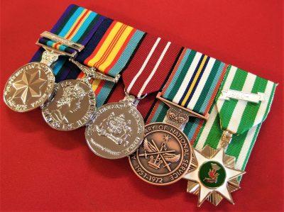 REPLICA AUSTRALIAN VIETNAM WAR SET OF 5 COURT MOUNTED MEDALS