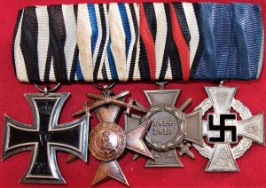 WW1 WW2 GERMAN 4 PLACE MEDAL BAR