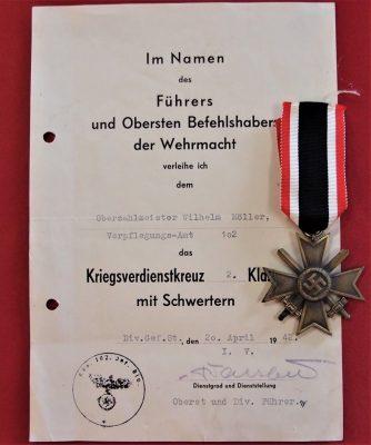 WW2 GERMAN ARMY WAR MERIT CROSS WITH SWORDS & DOCUMENT AWARD