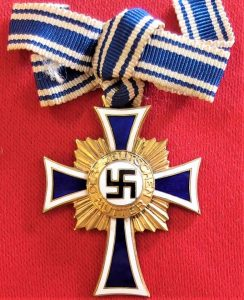 WW2 GERMAN NAZI MOTHERS CROSS IN GOLD WITH BOW TIED RIBBON