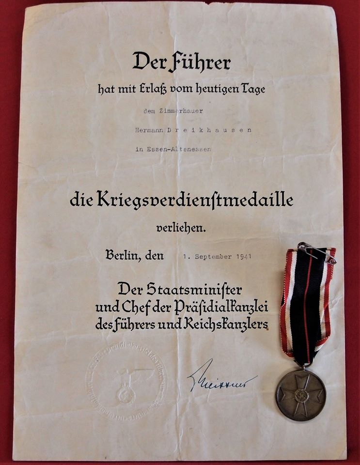 **SOLD** WW2 GERMAN WAR MERIT MEDAL TO TIMBER WORKER WITH DOCUMENT