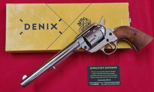 DENIX REPLICA GUN 1873 NICKLE COLT PEACE MAKER REVOLVER PISTOL