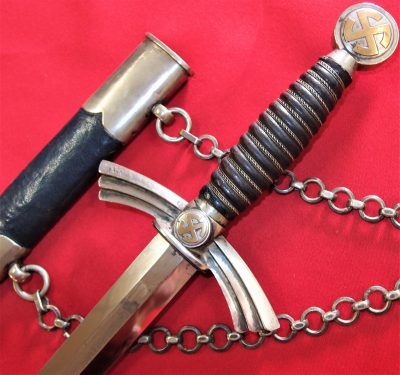 RARE NAZI GERMANY LUFTWAFFE 1ST PATTERN DAGGER & SCABBARD BY S.M.F. MATCHING NUMBERED 0.5