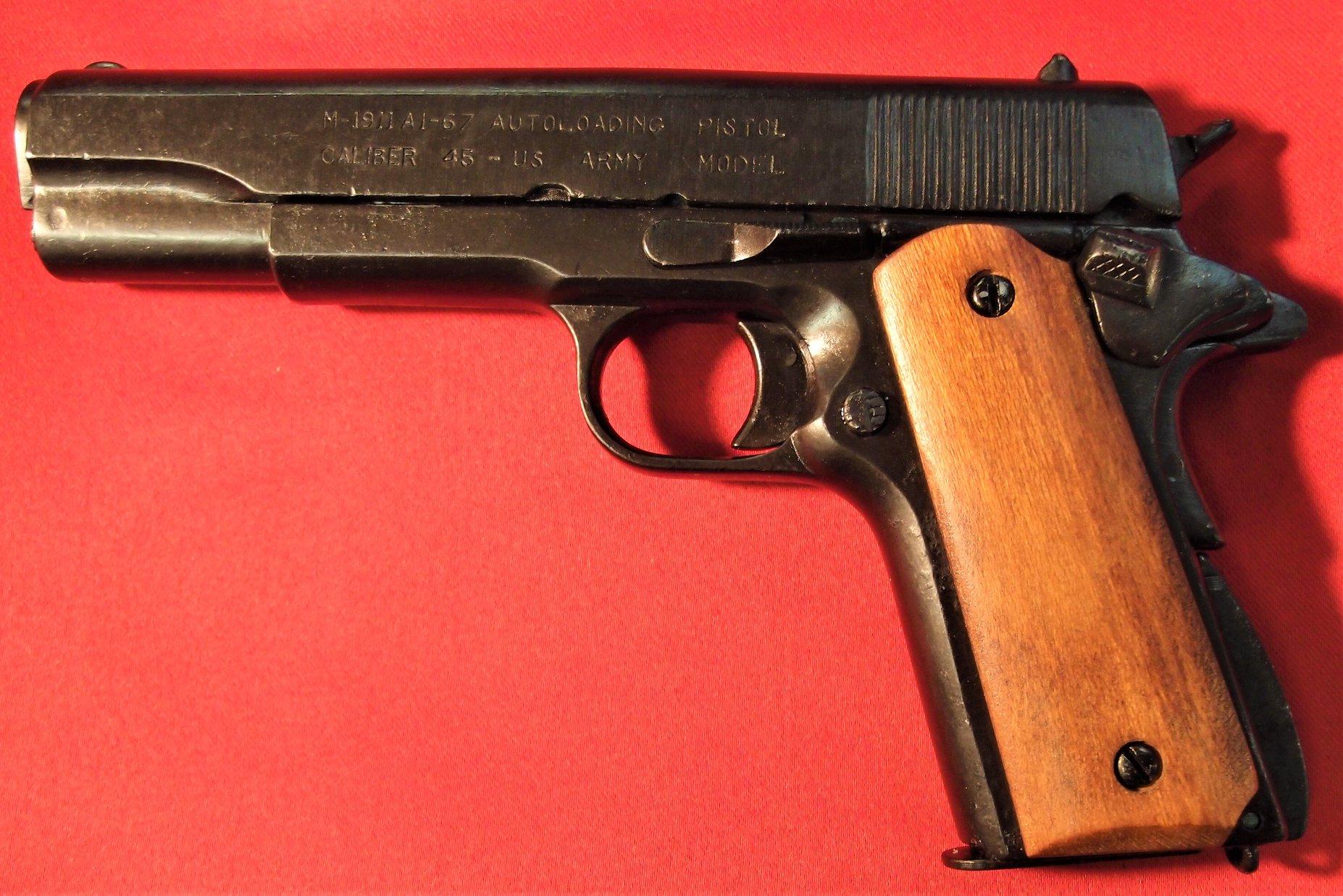 REPLICA M1911 US COLT HAND GUN PISTOL DENIX WOODEN GRIPS