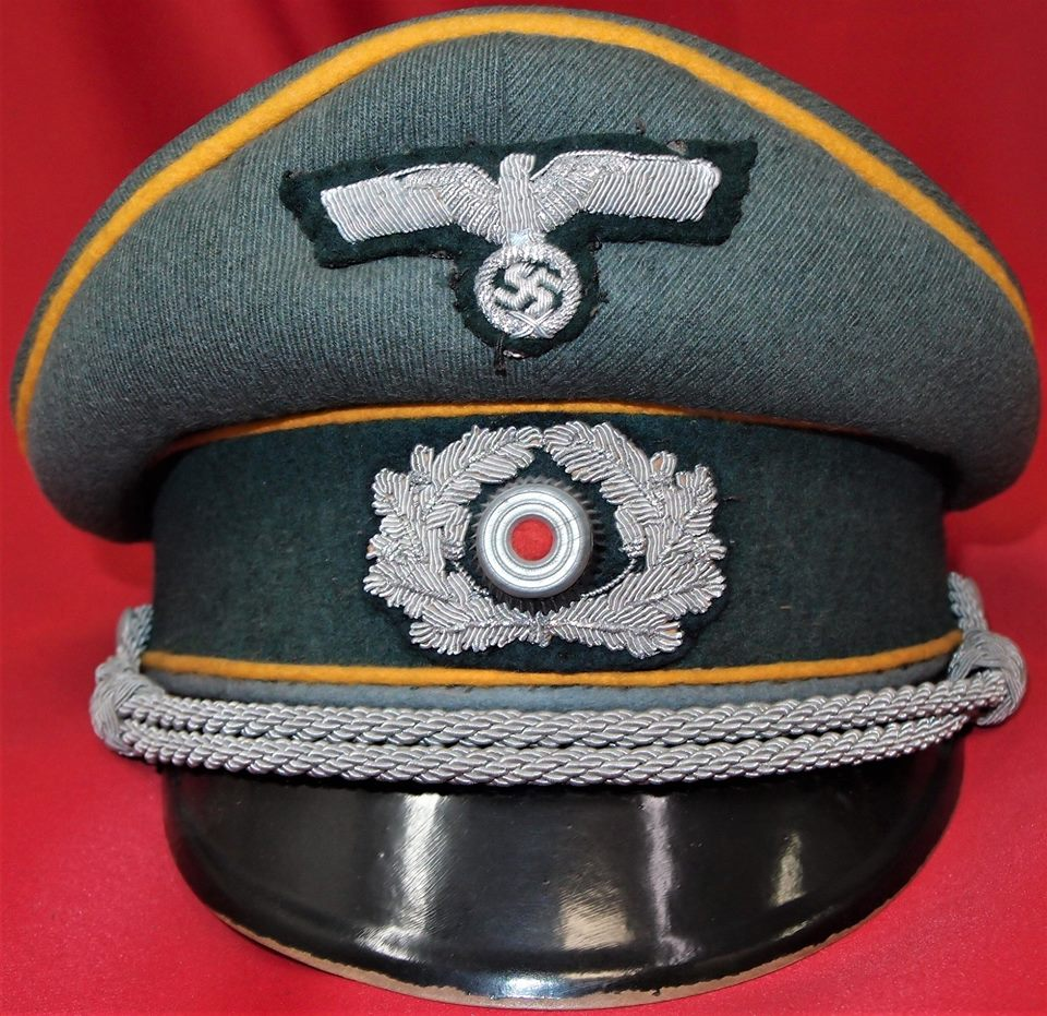 WW2 NAZI GERMANY ARMY CAVALRY OFFICER PEAKED CAP HAT – JB Military ... 72834acc8ce