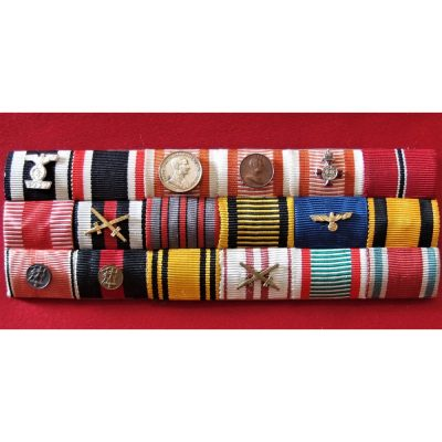 WW1/WW2 GERMANY & AUSTRO HUNGARIAN MEDAL RIBBON BAR OF 18 AWARDS
