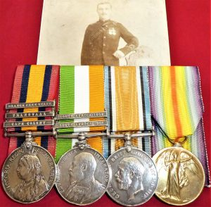 BRITISH ARMY BOER WAR & WW1 RIFLE BRIGADE AOC & NORTHUMBERLAND FUSILIERS MEDALS